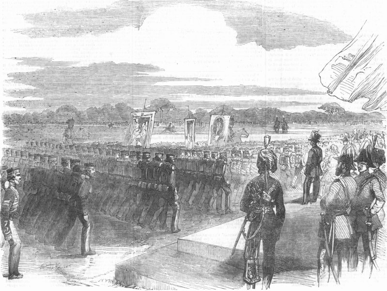 Associate Product LONDON. Royal Artillery parade, Woolwich, antique print, 1856