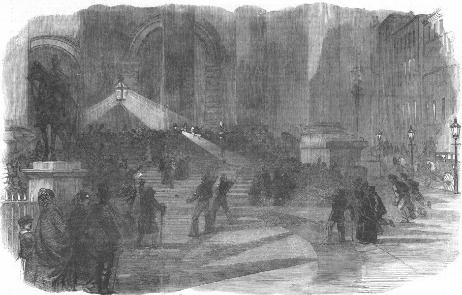 Associate Product LONDON. Declaring Alma victory, Royal Exchange, antique print, 1854