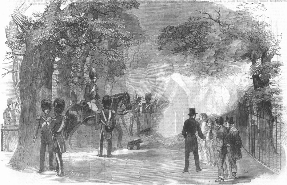 Associate Product LONDON. Firing park guns for Gt victory, Crimea, antique print, 1854