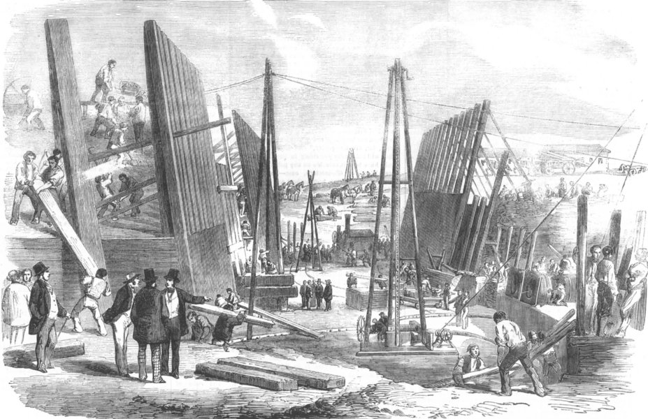 Associate Product LONDON. new Victoria Dock Works, Plaistow Marshes, antique print, 1854