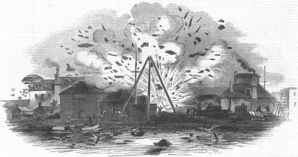 Associate Product LONDON. explosion, Samuda's works, Blackwall, antique print, 1845