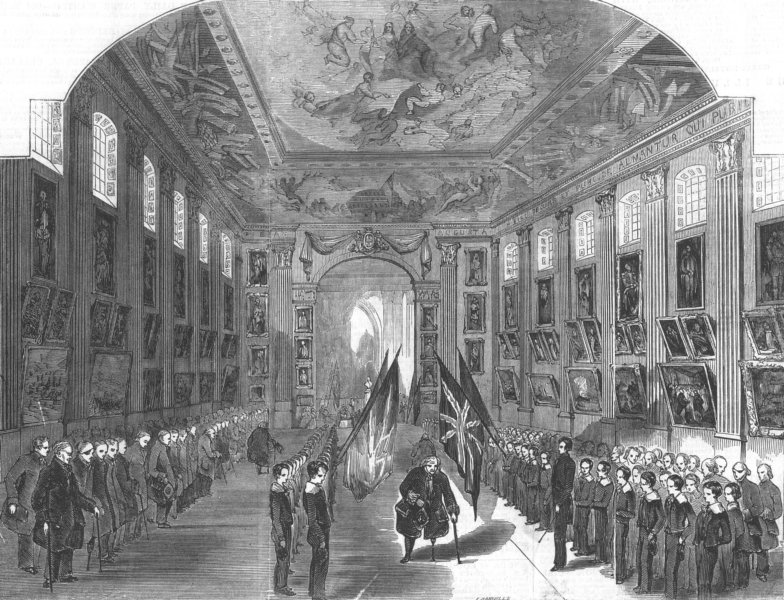 Associate Product LONDON. Painted Hall, Greenwich Hospital, antique print, 1845