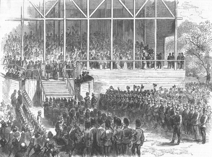 YORKS. Prince Arthur opening Roundhay Park, antique print, 1872