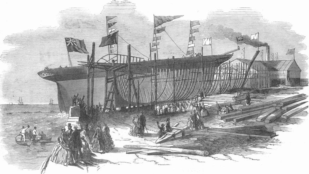 Associate Product LANCS. Ship launch, Jordan & Getley's Yd, Liverpool, antique print, 1851