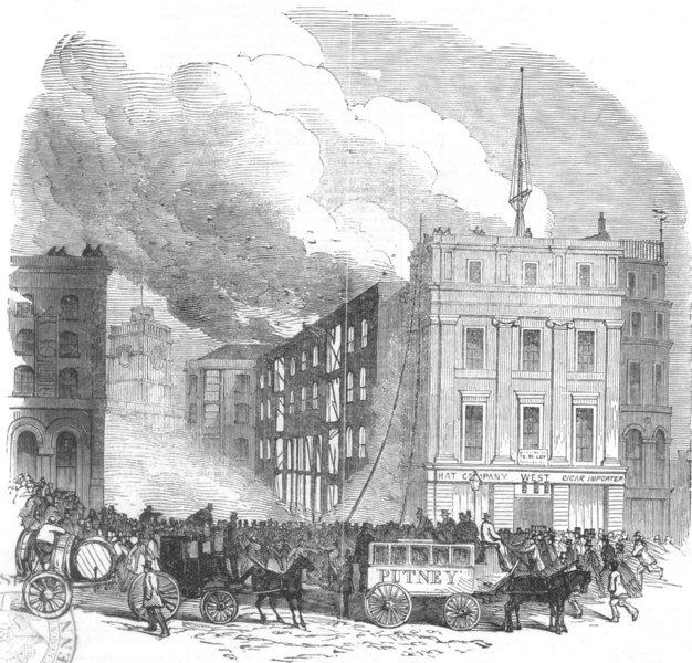 Associate Product LONDON. fire, Tooley St, Southwark, , antique print, 1851