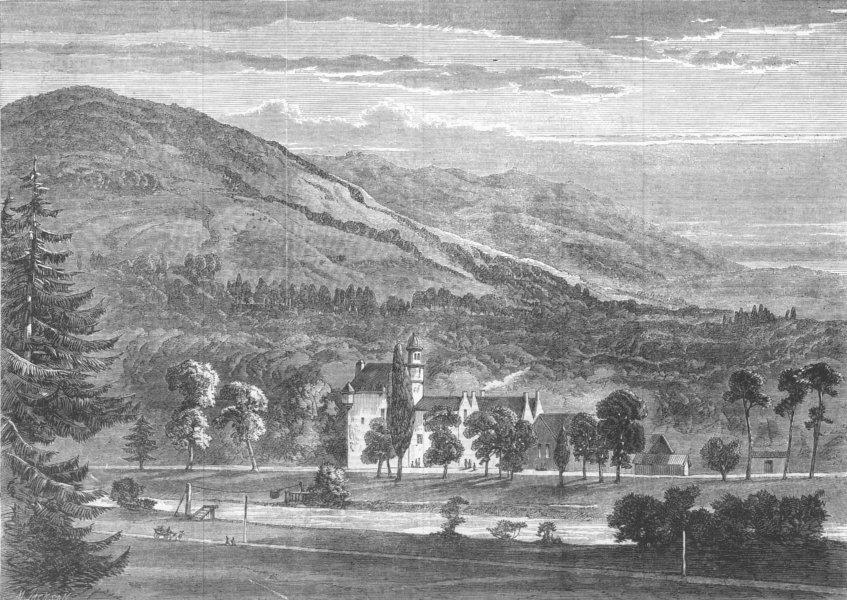 Associate Product SCOTLAND. Abergeldie, viewed from North side, antique print, 1864