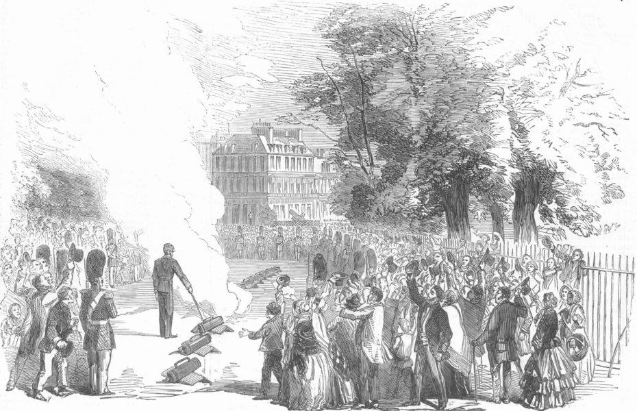 Associate Product LONDON. News of fall of Sevastopol-firing park guns, antique print, 1855