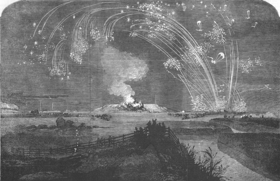 Associate Product LONDON. Fireworks, Woolwich Marshes, Crimea Victory, antique print, 1855