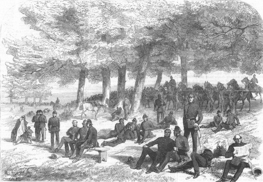 Associate Product LONDON. Hyde park reform mtg. Police, Kensington Gdns, antique print, 1867