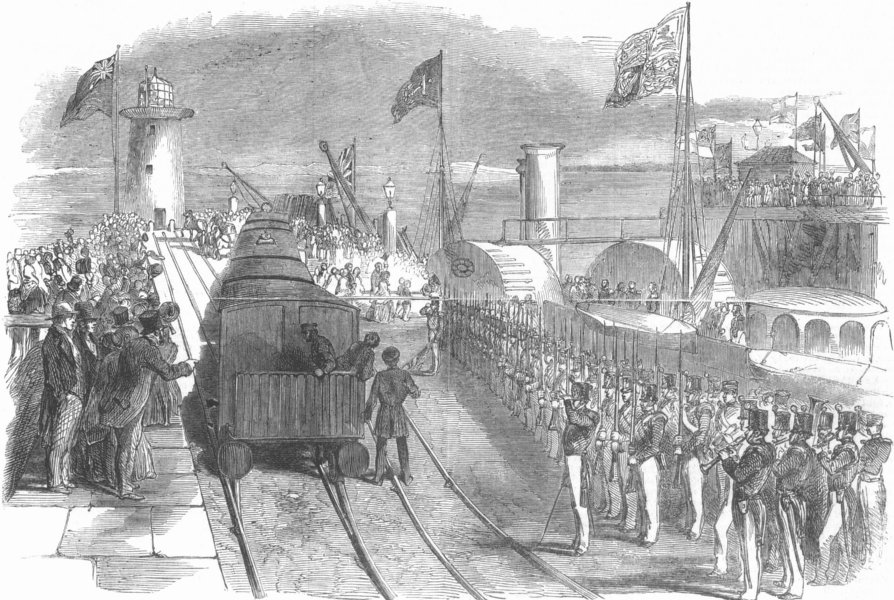 Associate Product WALES. Arrival of Queen, Holyhead, antique print, 1853