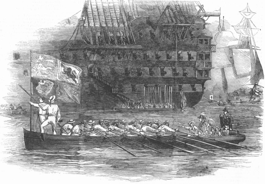 Associate Product SHIPS. Queen, Admiral's Barge, antique print, 1853