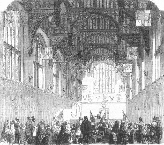 Associate Product LONDON. Lecture, Gt Hall, Hampton Ct, antique print, 1855