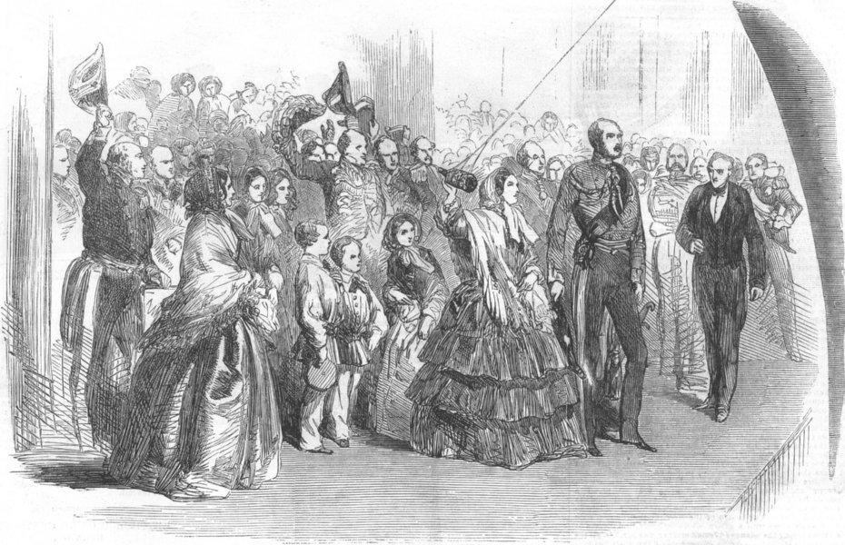 Associate Product LONDON. Queen launching Royal Albert, Woolwich, antique print, 1854