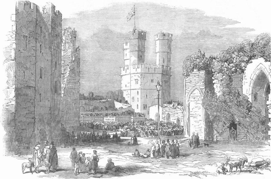 Associate Product WALES. Carnarvon Castle, antique print, 1853