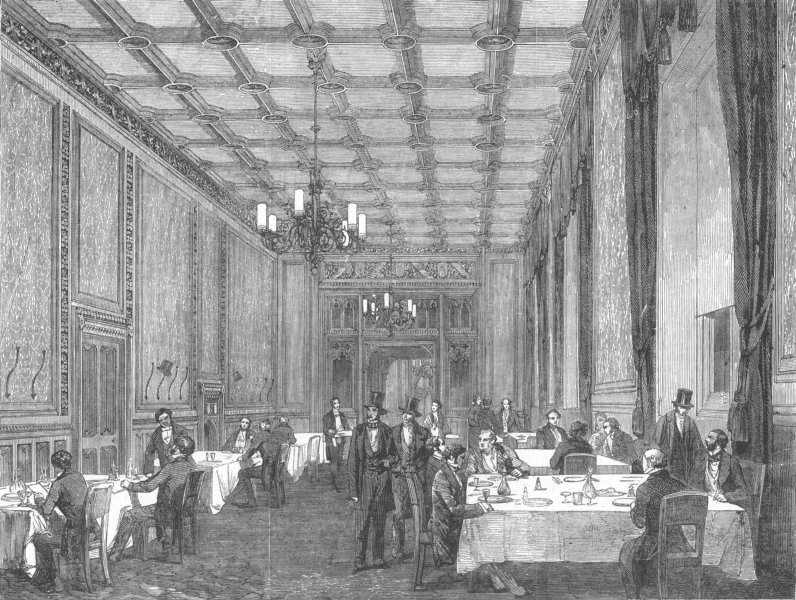 Associate Product LONDON. Westminster. Refreshment-Room, Commons, antique print, 1853