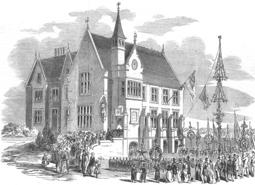 NOTTS. new Blue-Coat School, Nottingham, antique print, 1853