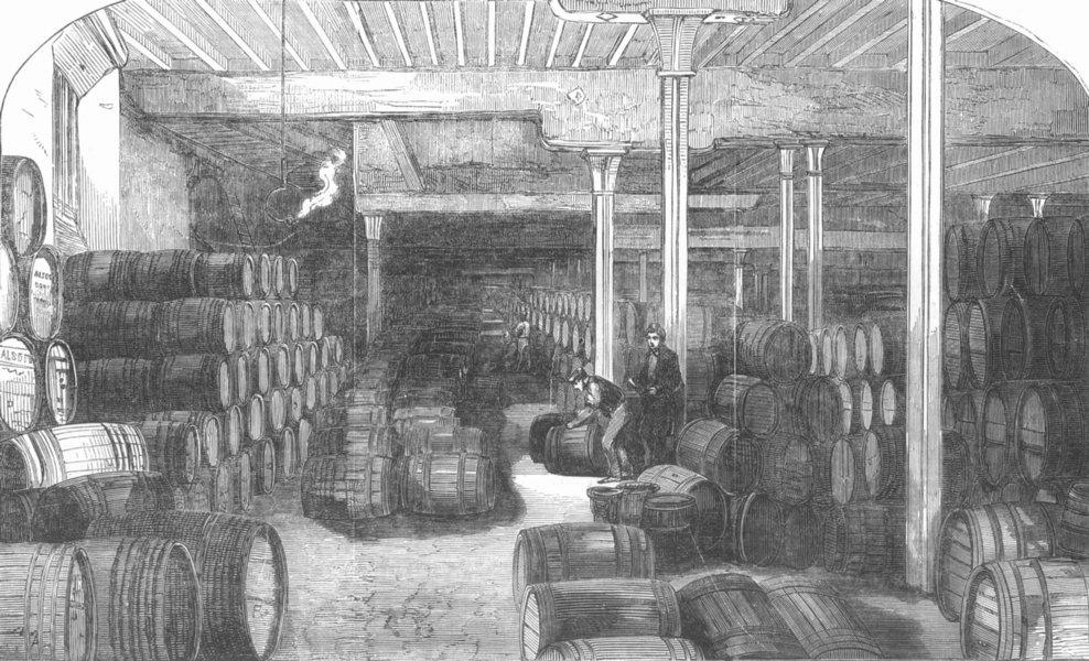 Associate Product LONDON. Allsopp's Ale Stores, Haydon Sq, Minories, antique print, 1853