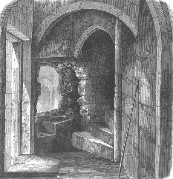 Associate Product LONDON. Secret stairs, Bloody Tower, Tower of London, antique print, 1868