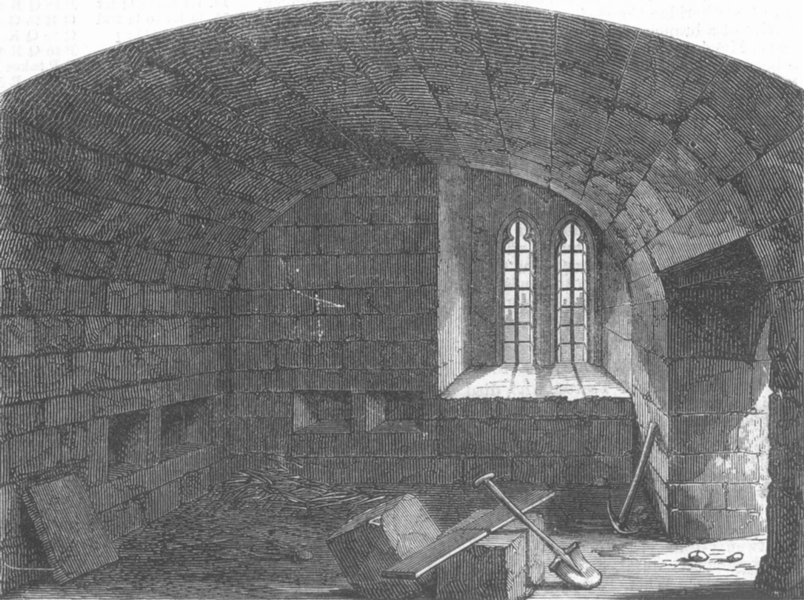Associate Product LONDON. Basement, Bloody Tower, Tower of London, antique print, 1868