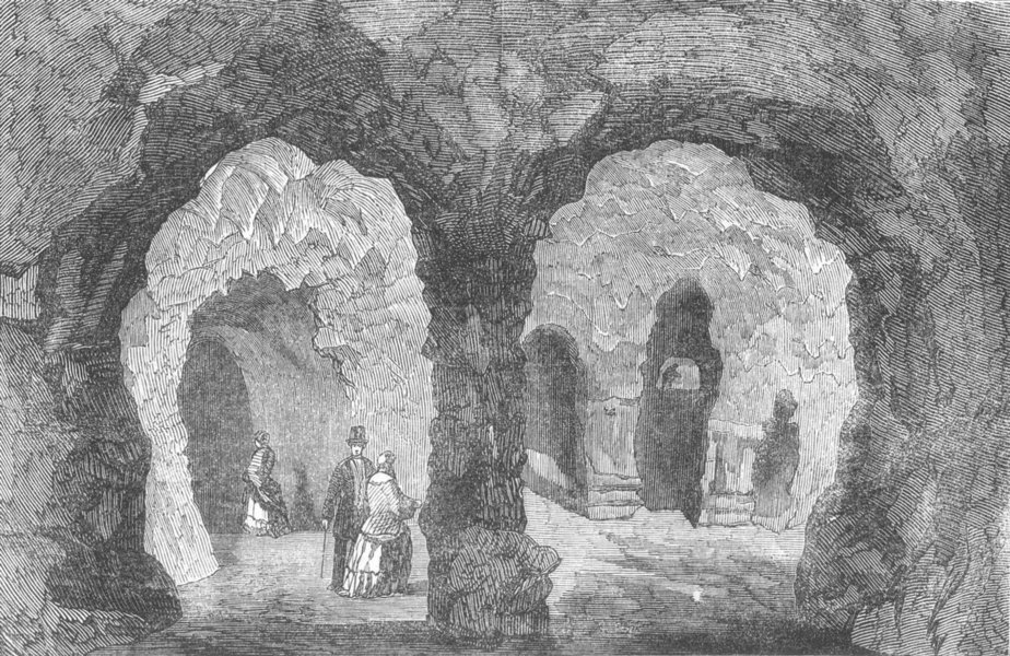 Associate Product SHROPS. The Grotto, in Hawkstone Park, antique print, 1854