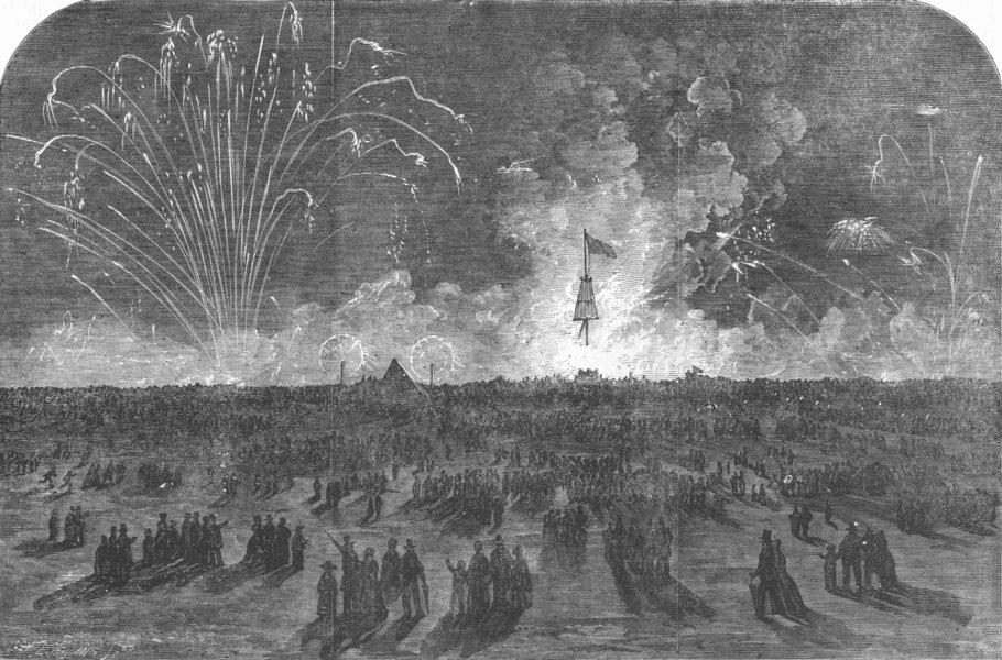 Associate Product LONDON. Fireworks, Blackheath, for Crimea victory, antique print, 1855