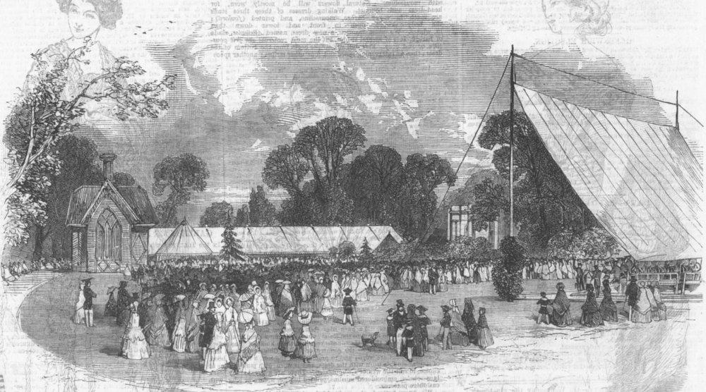 Associate Product GLOS. Flower show, Royal wells, Cheltenham, antique print, 1851
