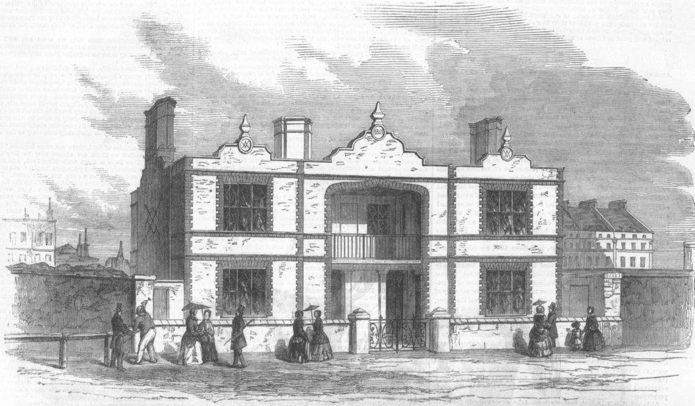 BUILDINGS. Prince Albert's model Lodging House, antique print, 1851