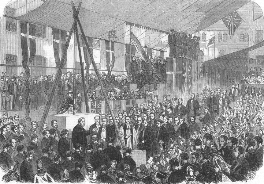 Associate Product LONDON. keystone, Sailors Home extension, Well St, Docks, antique print, 1863