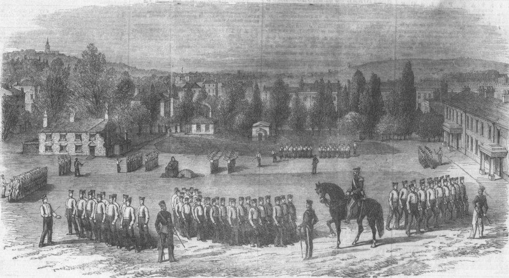 Associate Product LONDON. Foot guards drill, St John's Wood Barracks, antique print, 1854