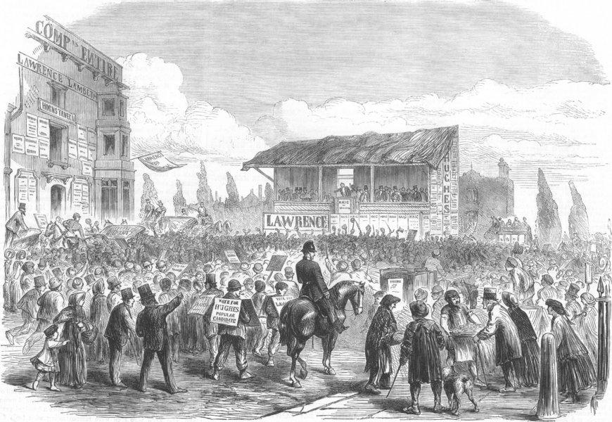 Associate Product LONDON. Lambeth Election. Nomination, Kennington Park, antique print, 1865