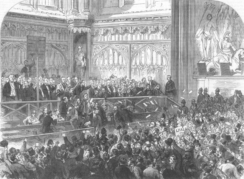 Associate Product LONDON. City Election. Nomination, Guildhall, antique print, 1865