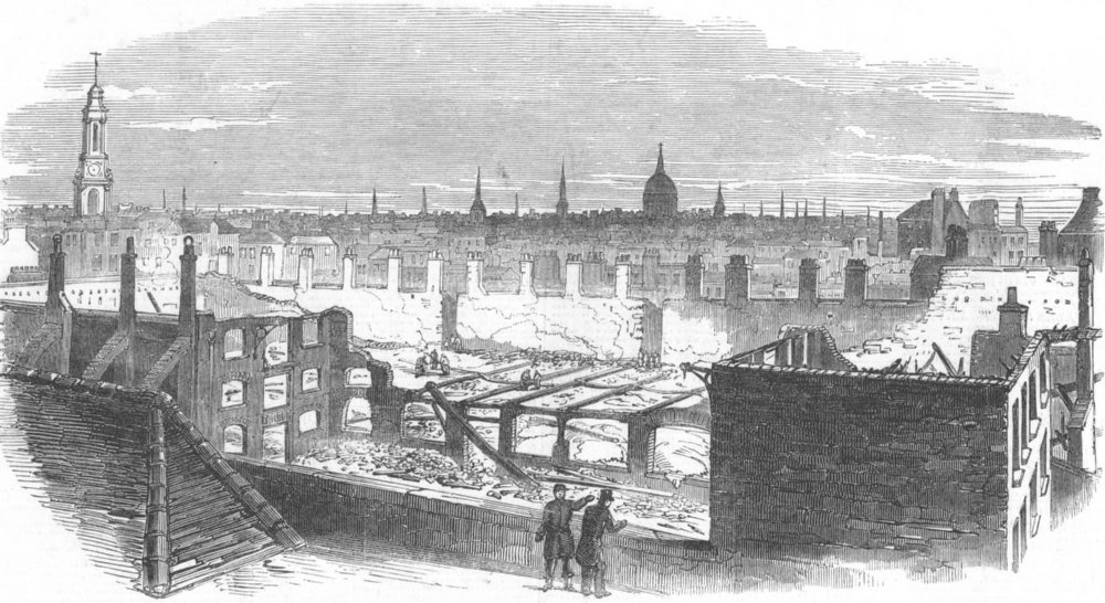 Associate Product LONDON. Ruins of fire, London-Wall, Carpenters Hall, antique print, 1849