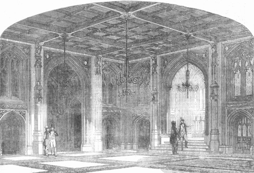 Associate Product LONDON. Westminster. Lower Waiting-Hall, Commons, antique print, 1856