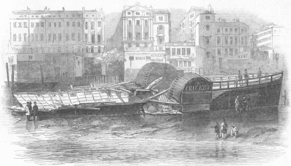 Associate Product LONDON. Wreck of Cricket, Low Water, antique print, 1847