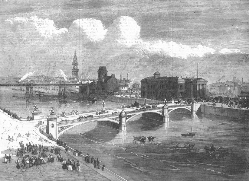 Associate Product SCOTLAND. Albert Bridge, Glasgow, opened last week, antique print, 1871