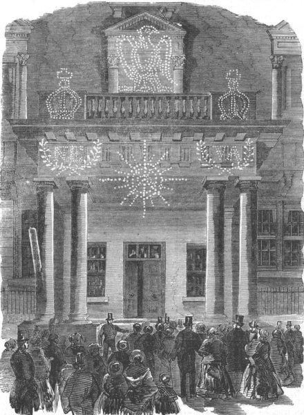 Associate Product LONDON. Peace lights. French Embassy, Albert Gate, antique print, 1856