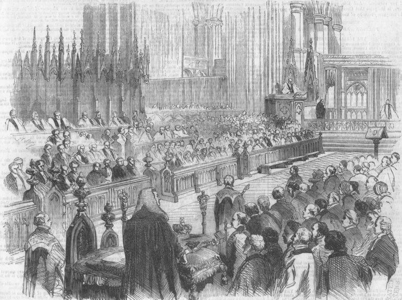 Associate Product LONDON. Bishop Bath Wells sermon, Westminster Abbey, antique print, 1856