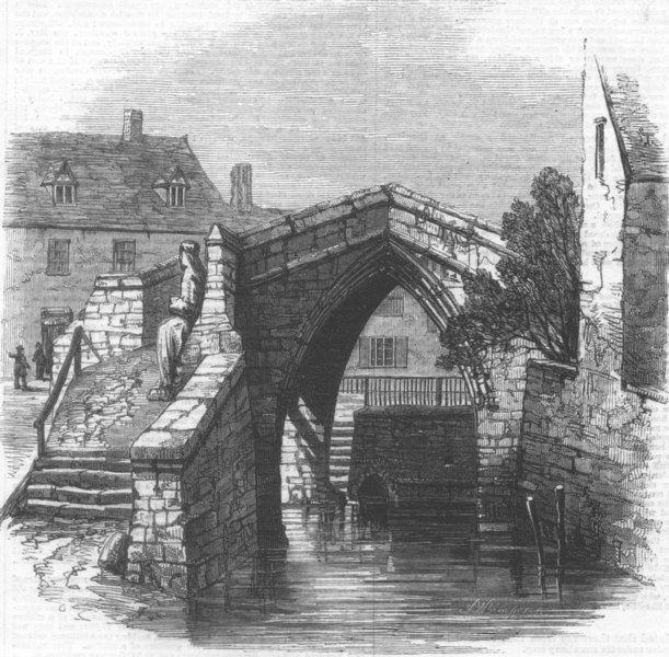 Associate Product Crowland Bridge, Lincolnshire, antique print, 1861