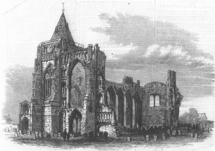 Associate Product LINCS. Crowland Abbey, Lincolnshire, antique print, 1861