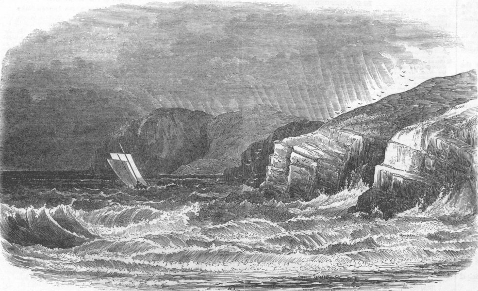 Associate Product IRELAND. Ireland's Eye, Dublin Bay, antique print, 1852