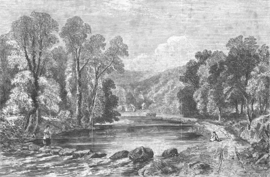 Associate Product YORKS. In the valley of the Esk, antique print, 1860