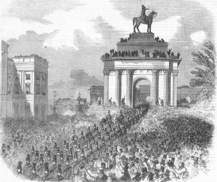 Associate Product LONDON. Military parade, Hyde Park Corner, antique print, 1860