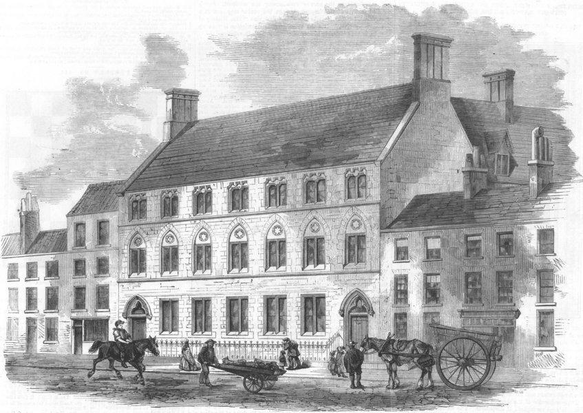 Associate Product LONDON. St John the Evangelist schools-John Street, Fitzroy Square, print, 1860