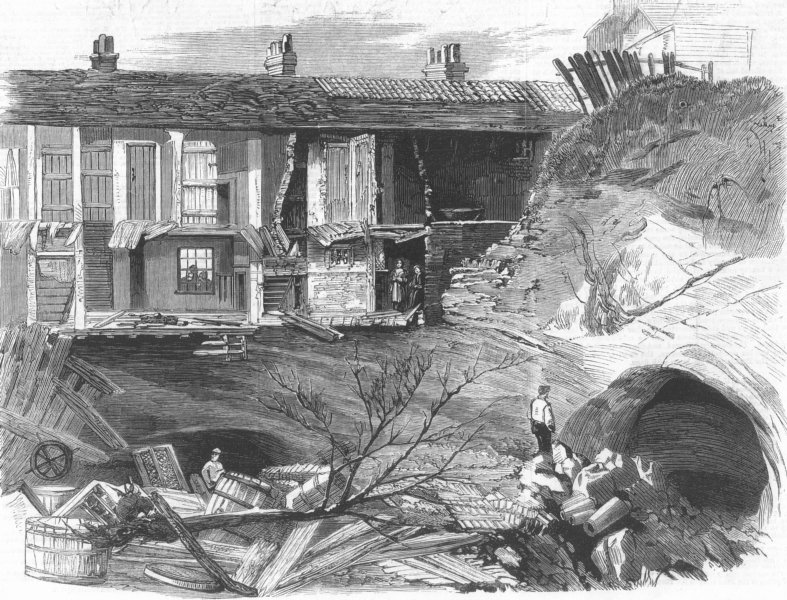 Associate Product DEVON. Fall of cottages into sand cave, Reigate, antique print, 1860
