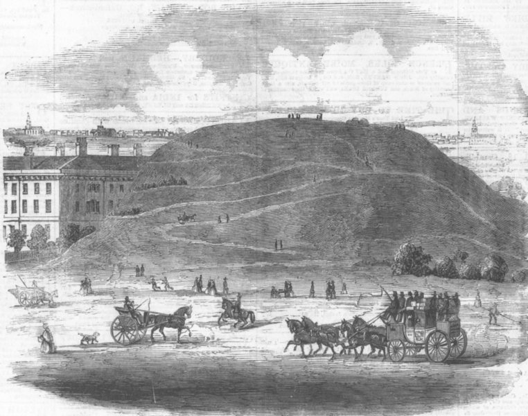 Associate Product LONDON. Whitechapel Mount, from drawing made, 1801, antique print, 1860
