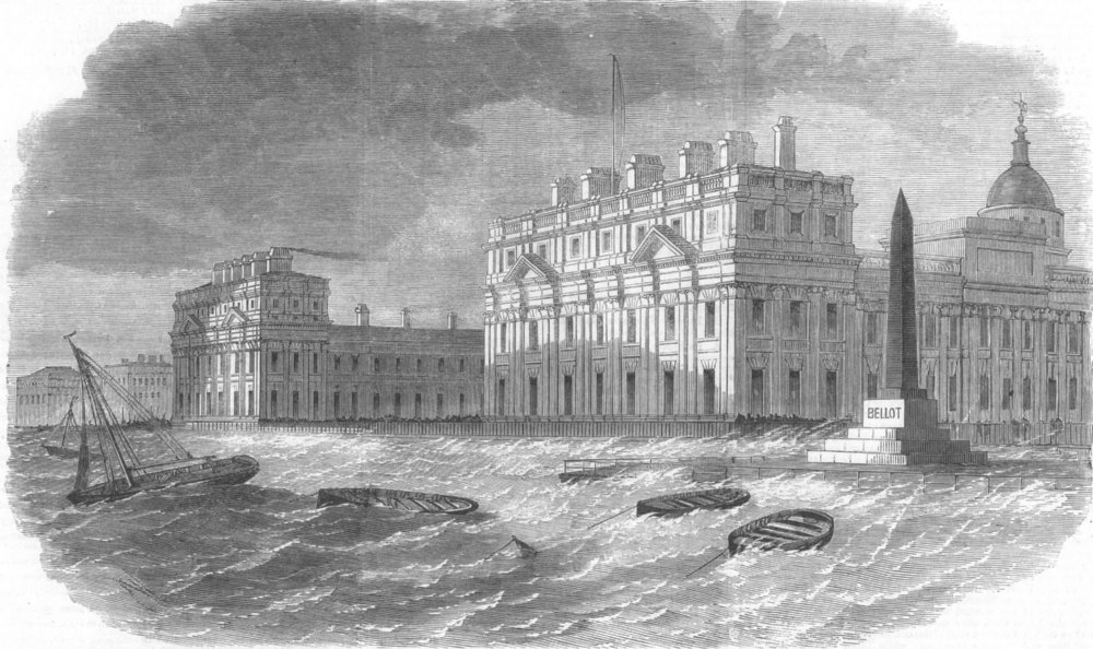 LONDON. Thames, Greenwich during high tide, antique print, 1860