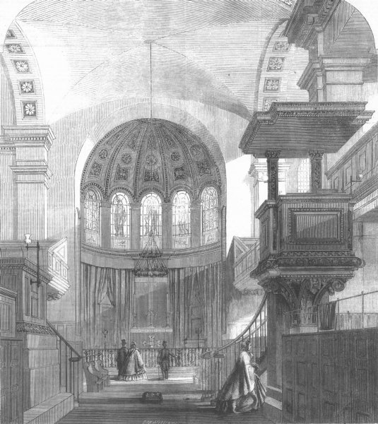 Associate Product LONDON. St George, East. church of St George-in--East, antique print, 1860