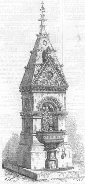 Associate Product LONDON. Drinking-Fountain, Battersea Park, antique print, 1867