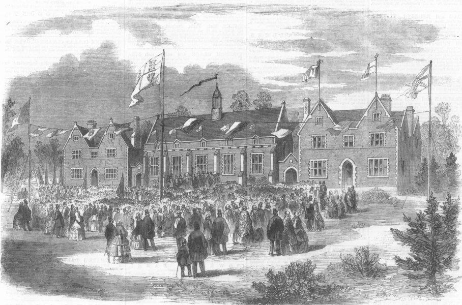Associate Product DEVON. unveiling of new grammar school, Crediton, antique print, 1860