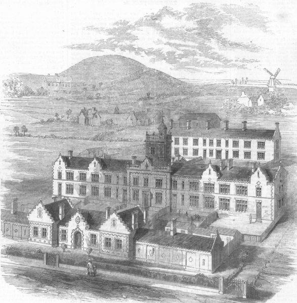 Associate Product YORKS. Birdseye Scarborough new workhouse, antique print, 1860